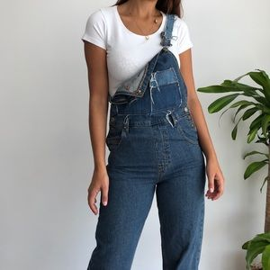 Zara mom fit denim bib overalls bib dungarees XS